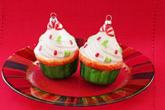 Cupcake Christmas Ornaments Royalty Free Stock Photography