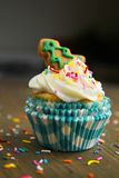 Cupcake with christmas tree Stock Photos