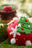 Cupcake with Christmas tree Stock Images