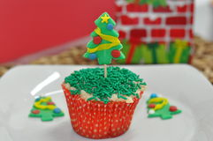 Cupcake with Christmas Tree Decoration Stock Image