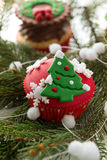 Cupcake with Christmas tree Royalty Free Stock Photography