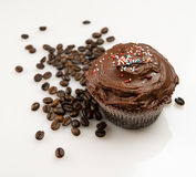 Cupcake and coffee beans Stock Photo