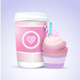 Cupcake and coffee for valentines day Stock Photography