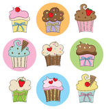 Cupcake Collection. Illustration of 9 different cupcakes with chocolate, strawberry, vanilla and fancy toppings Royalty Free Stock Photography