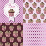 Cupcake collection set. Bakery shop cupcake collection. Paper label and seamless patterns with Gingham, Polka Dot and Cupcakes on dark and light background Royalty Free Stock Photography