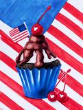 Cupcake colored in american flag colors decarated with blueberry, stars and flag hand drawn illustration with clipping royalty free stock images