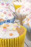 Cupcake with colored sprinkes Royalty Free Stock Photography