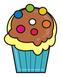 Cupcake with colored sprinkles Stock Photography