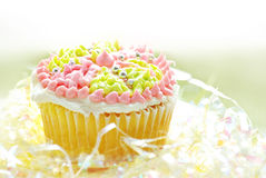 Cupcake with colorful frosting Stock Images