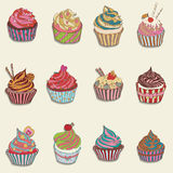 Cupcake colorful icon. Set of different cupcakes Stock Photo