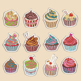 Cupcake colorful icon. Set of different cupcakes Royalty Free Stock Photo