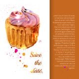 Cupcake with colorful shavings and cream Royalty Free Stock Images