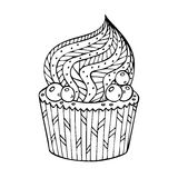 Cupcake coloring for adults Royalty Free Stock Images