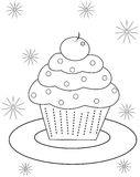 Cupcake coloring page. Useful as coloring book for kids Stock Photos