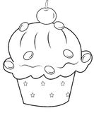 Cupcake coloring page. Useful as coloring book for kids Royalty Free Stock Photography