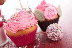 Cupcake and confectionery Stock Images