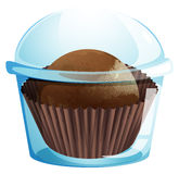 A cupcake container with a chocolate flavored cupcake Stock Photo