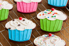 Cupcake cookies. Cupcake shaped cookies with colorful frosting Royalty Free Stock Photography