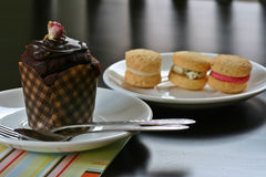 Cupcake and Cookies. Afternoon Tea - gourmet chocolate cupcake and assorted macaroons Royalty Free Stock Photo