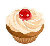Cupcake with cream and cherry. Vector. Royalty Free Stock Photo