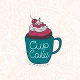 Cupcake with cream and cherry in cup. Vector Illustration Royalty Free Stock Image