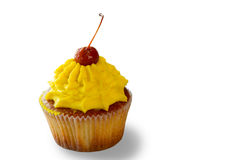 Cupcake with cream and cherry. Stock Photography