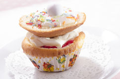 Cupcake with cream and easter egg Stock Photos