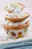 Cupcake with cream and easter egg Royalty Free Stock Photo