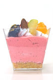 Cupcake with cream and fruits Stock Images