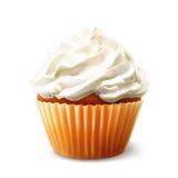 Cupcake with cream on white Royalty Free Stock Photo