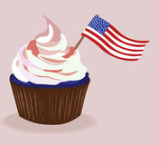 Cupcake. Creamy cupcake with an american flag Stock Photos