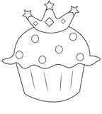 Cupcake with a crown coloring page Royalty Free Stock Photography