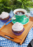 Cupcake and cup of coffee Royalty Free Stock Photo