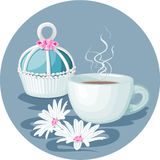 Cupcake, cup of coffee and flowers composition Royalty Free Stock Photo
