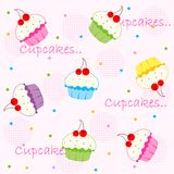 Cupcake / cupcakes. Cupcake seamless pattern. colorful  illustrations isolated on light pink background Stock Images
