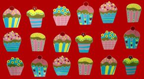 Cupcake. cupcakes. drawing. illustration. dessert. Royalty Free Stock Photo