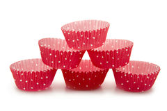 Cupcake cups. Empty cups for cupcakes on white background stock photography
