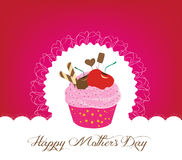 Cupcake cute happy mothers day card Royalty Free Stock Photography