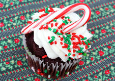 Cupcake decorated for Christmas Stock Image