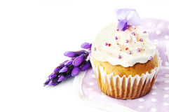 Cupcake decorated with cream and flower Royalty Free Stock Image