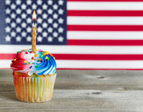 Cupcake decorated in Fourth of July holiday colors Royalty Free Stock Photography
