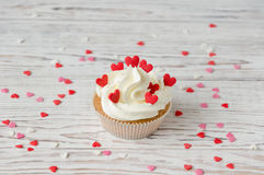 Cupcake decorated with hearts Royalty Free Stock Photo