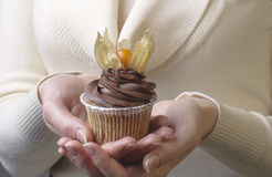 Cupcake decorated with physalis Royalty Free Stock Photo