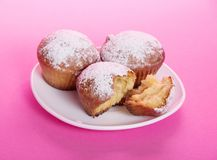 Cupcake on a dish, strewed with icing sugar Stock Photos