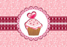 Cupcake on the doily. Vector illustration royalty free illustration
