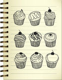 Cupcake doodle Royalty Free Stock Images