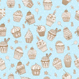 Cupcake doodle pattern Stock Photo