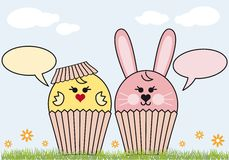 Cupcake easter bunny and chicken Royalty Free Stock Images
