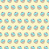 Cupcake - emoji pattern 27. Pattern of a emoji cupcake that can be used as a background, texture, prints or something else stock illustration