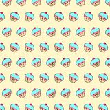 Cupcake - emoji pattern 29. Pattern of a emoji cupcake that can be used as a background, texture, prints or something else vector illustration